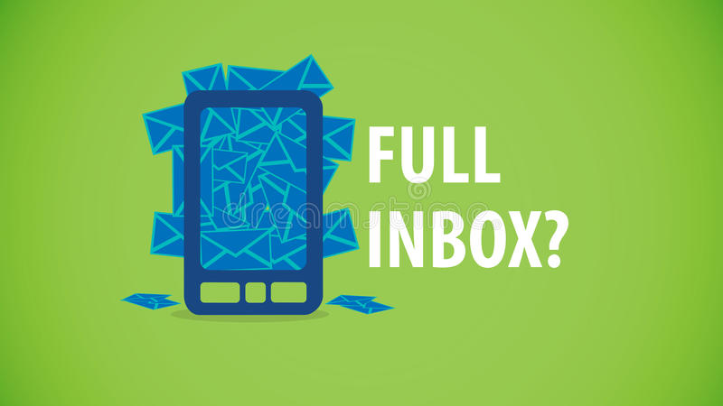 Volles E-Mail-Mobile Inbox lizenzfreie abbildung