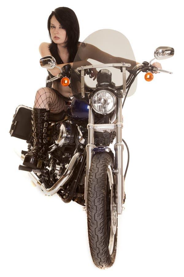 Volles Fahrrad des Frauenmotorradfisch-Netzes lizenzfreie stockfotos