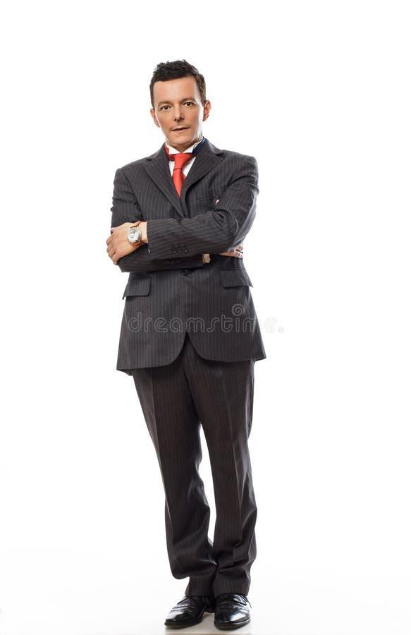 Volles Körperbild des hübschen Geschäftsmannes stockfotografie