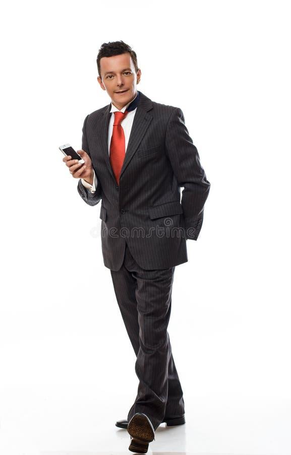 Volles Körperbild des Mannes in einer Klage stockbild