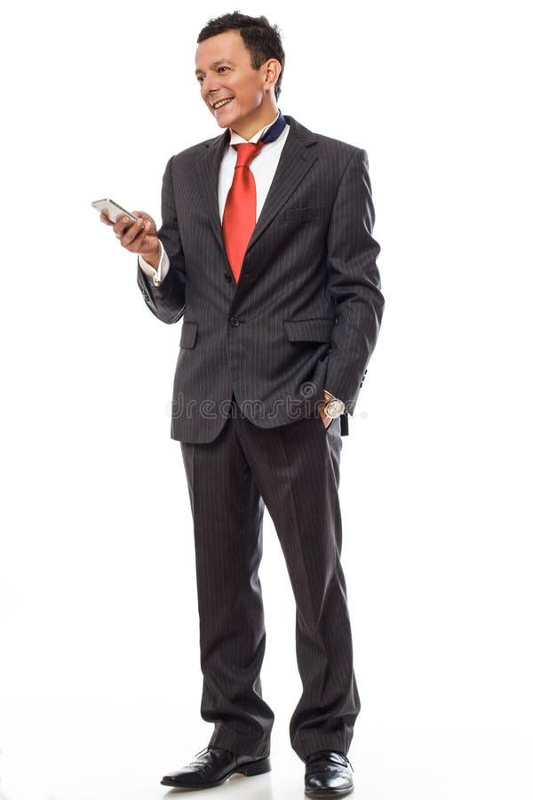 Volles Körperbild des Mannes in einer Klage stockfoto