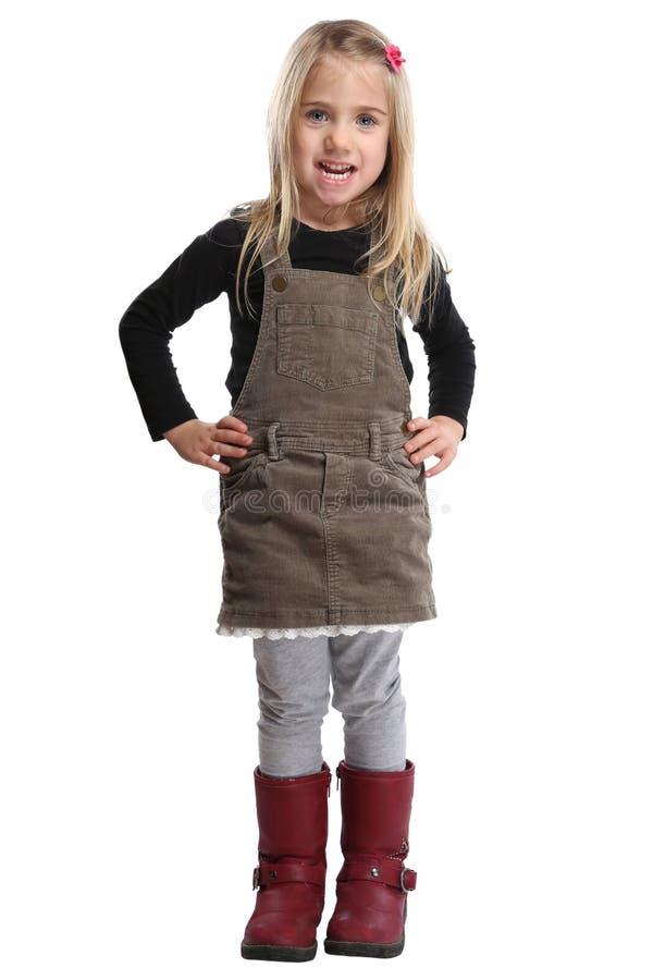 Volles Körperporträt des Kinderkinderkleinen Mädchens lokalisiert auf Weiß stockfotos