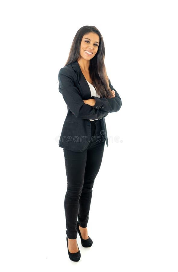 Volles Körperporträt einer attraktiven Geschäftsfrau, die glücklich und erfolgreich schaut lizenzfreies stockbild