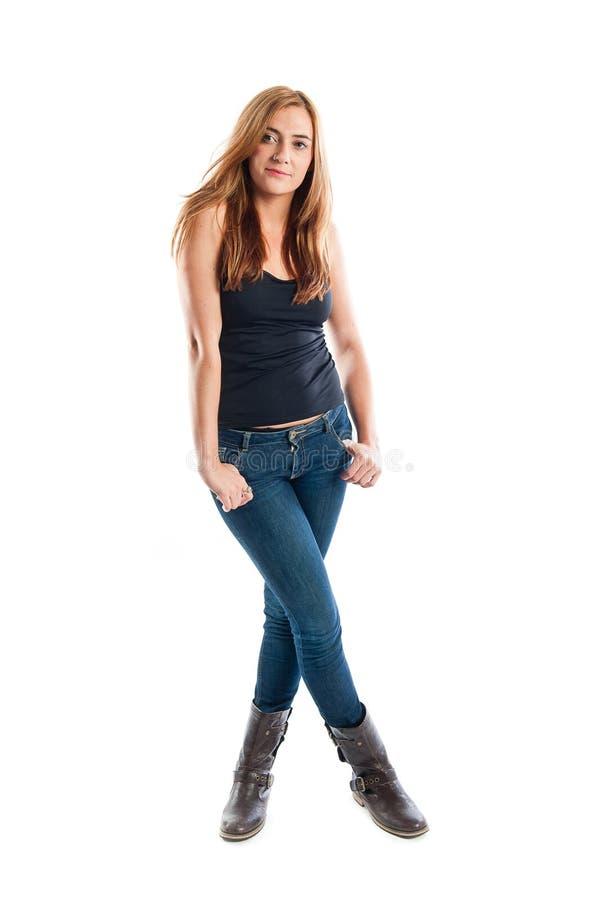 Volles Körperporträt einer glücklichen lächelnden jungen Frau lizenzfreie stockfotos