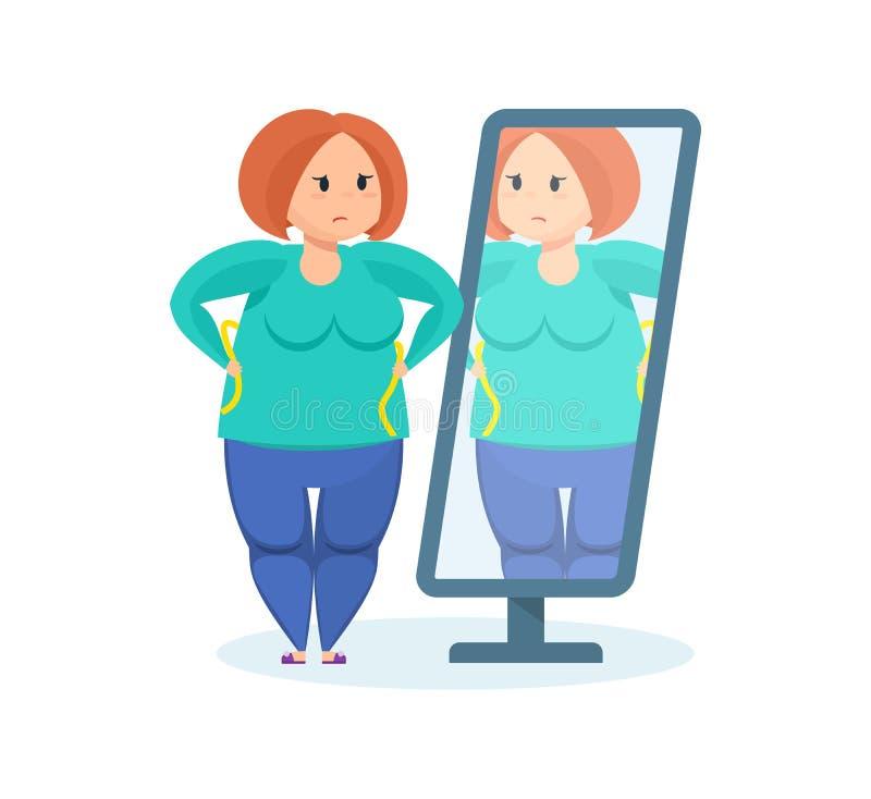 Volles Mädchen schaut im Spiegel und wünscht Gewicht verlieren lizenzfreie abbildung