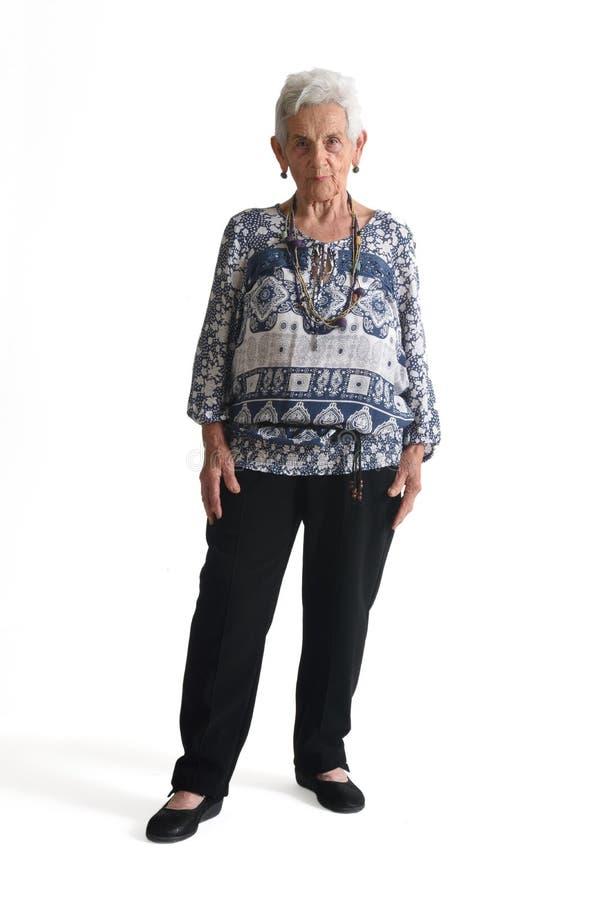 Volles Porträt einer senir Frau lizenzfreie stockbilder