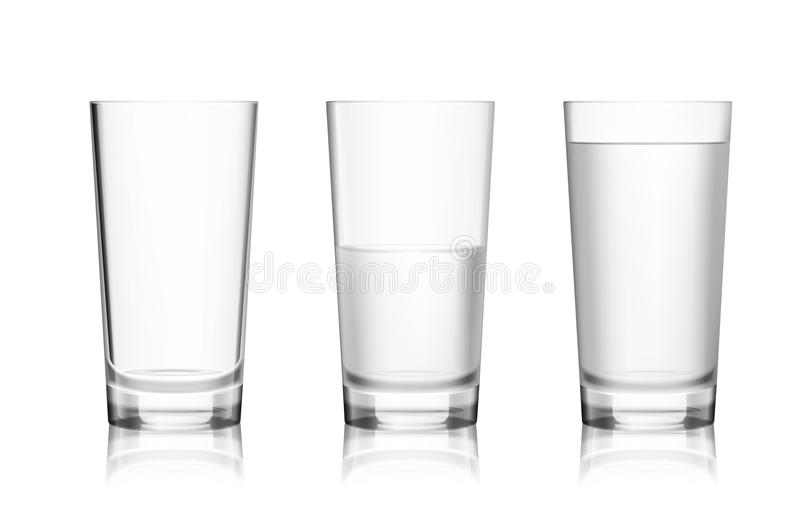 Volles und leeres Glas lizenzfreie abbildung