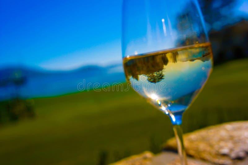 Volles Weißwein-Glas reflektiert Golfplatz lizenzfreie stockfotografie