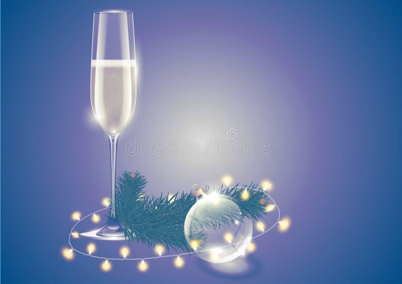 Volles Weinglas Champagne, transparentes Glasweihnachtsballspielzeug, -lichter und -tannenbaum verzweigen sich Winterurlaubkarte  vektor abbildung