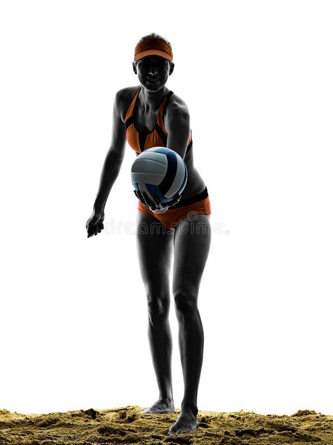 Volley παραλιών γυναικών σκιαγραφία φορέων σφαιρών στοκ φωτογραφία με δικαίωμα ελεύθερης χρήσης