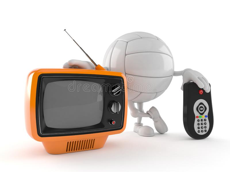 Volley ball character with tv set and remote. Isolated on white background. 3d illustration royalty free illustration