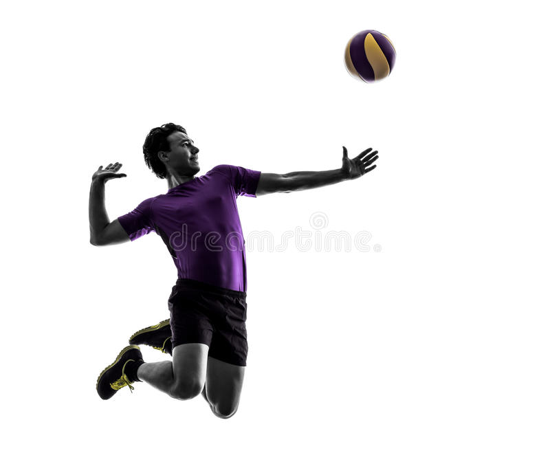 Volley ball player man silhouette white background. Young volley ball player man in silhouette white background royalty free stock photos