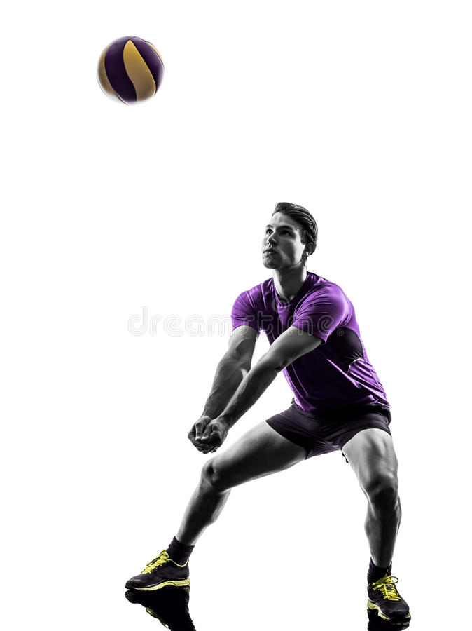 Volley ball player man silhouette white background. Young volley ball player man in silhouette white background royalty free stock photo