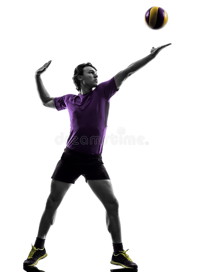 Volley ball player man silhouette white background. Young volley ball player man in silhouette white background stock images