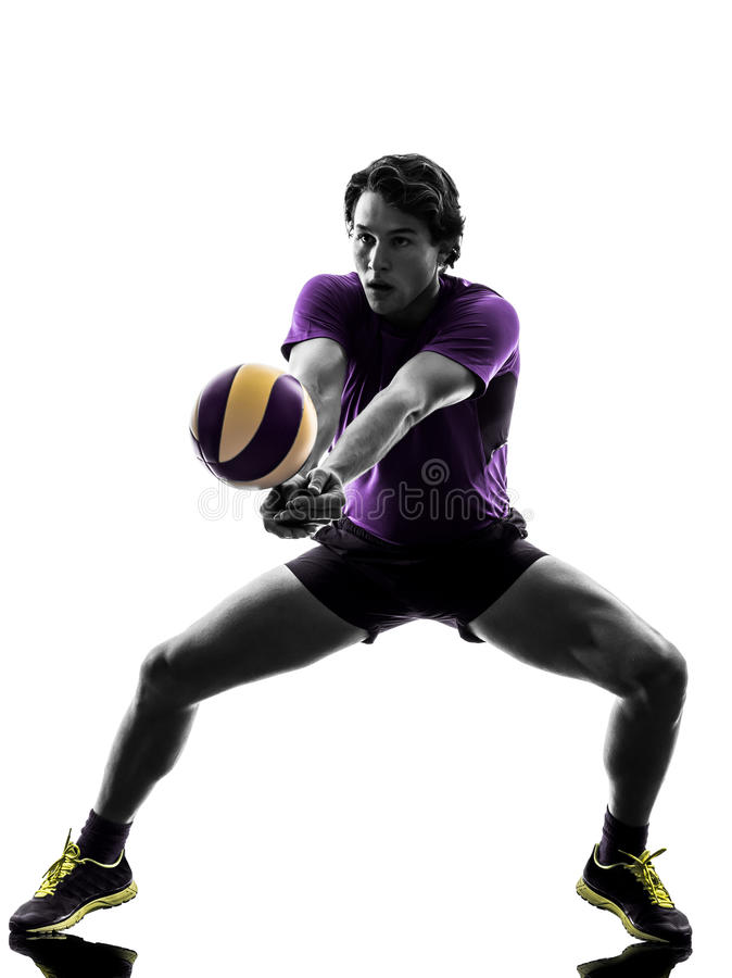 Volley ball player man silhouette white background. Young volley ball player man in silhouette white background royalty free stock photography
