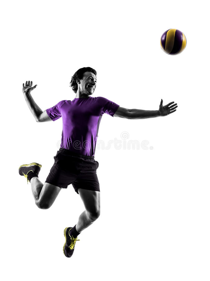 Volley ball player man silhouette white background. Young volley ball player man in silhouette white background stock image
