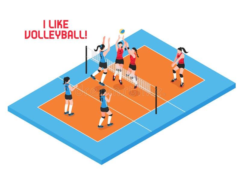 Volley Isometric απεικόνιση σφαιρών διανυσματική απεικόνιση