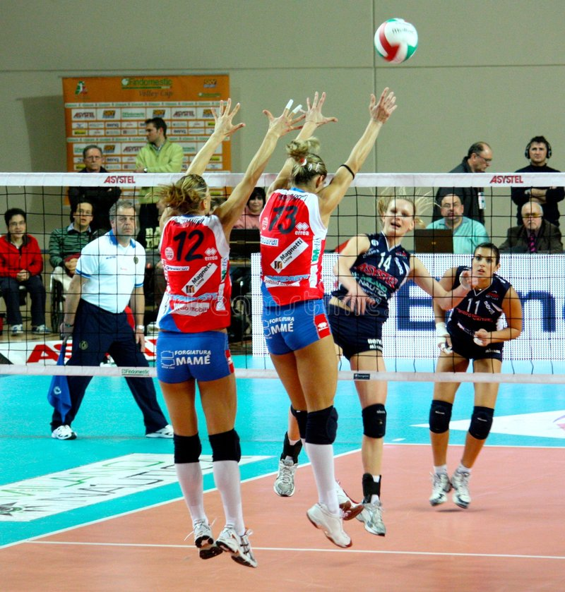 Volley - Volleyball match, attack and block royalty free stock images