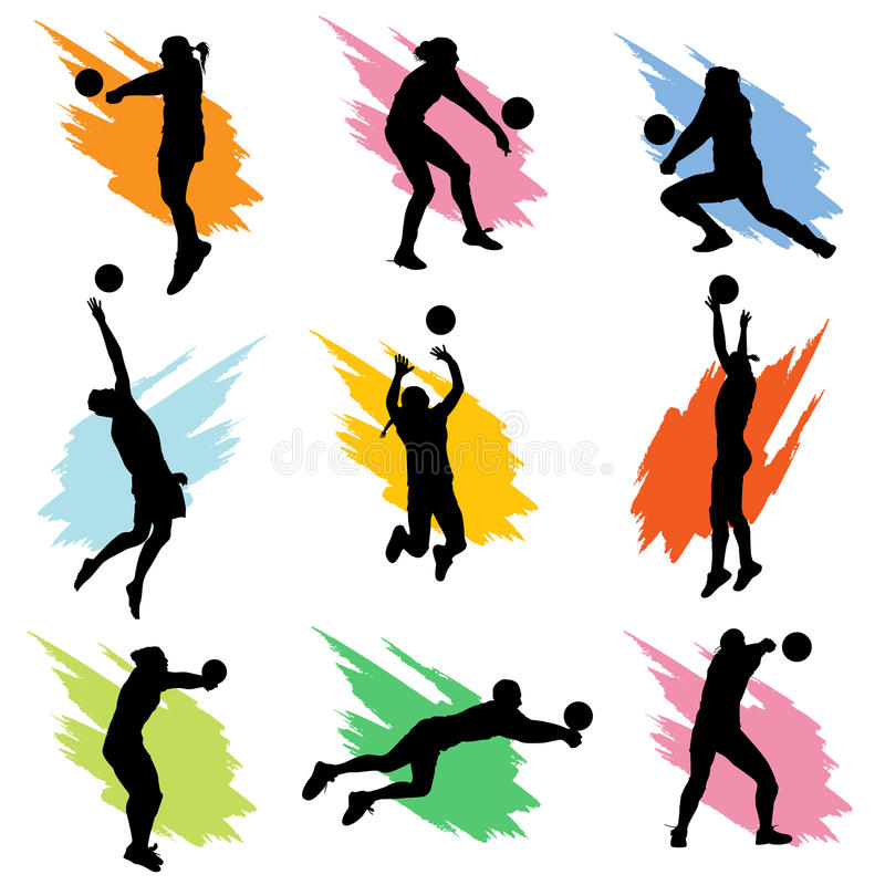 Download Volleyball stock vector. Image of happy, people, hitting - 14221936