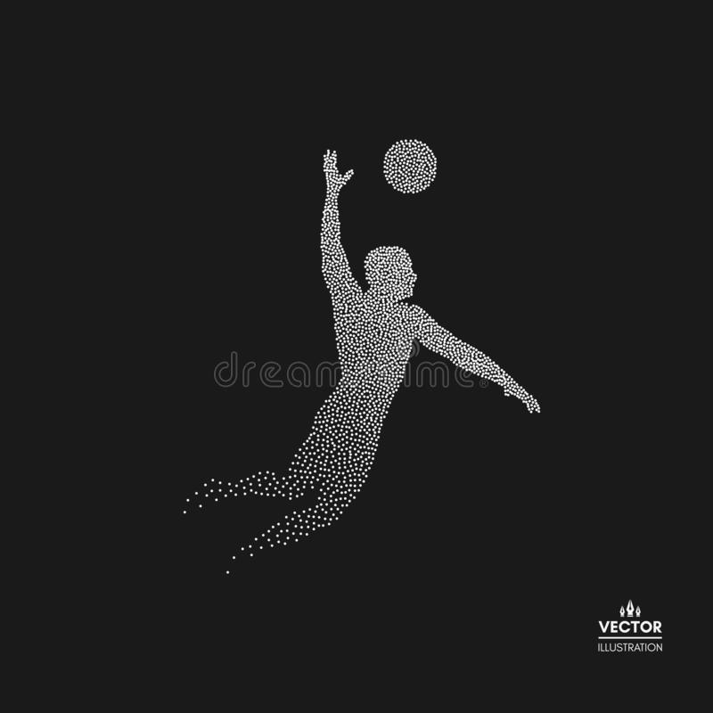 Volleyball athlete in action. Dotted silhouette of person. Vector illustration.  royalty free illustration