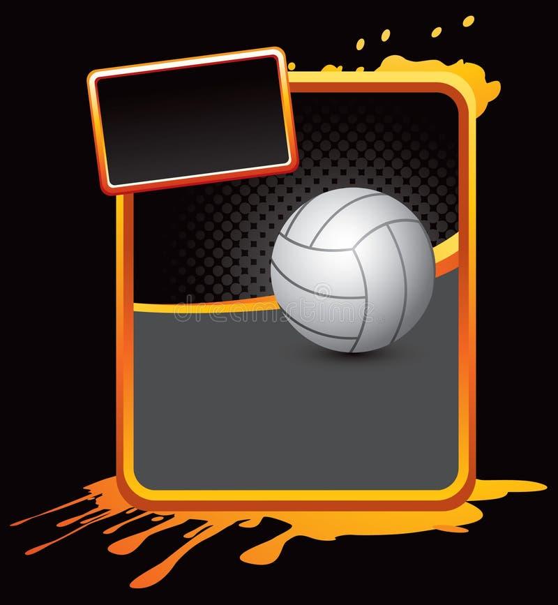 Volleyball auf orange splattered Reklameanzeige vektor abbildung