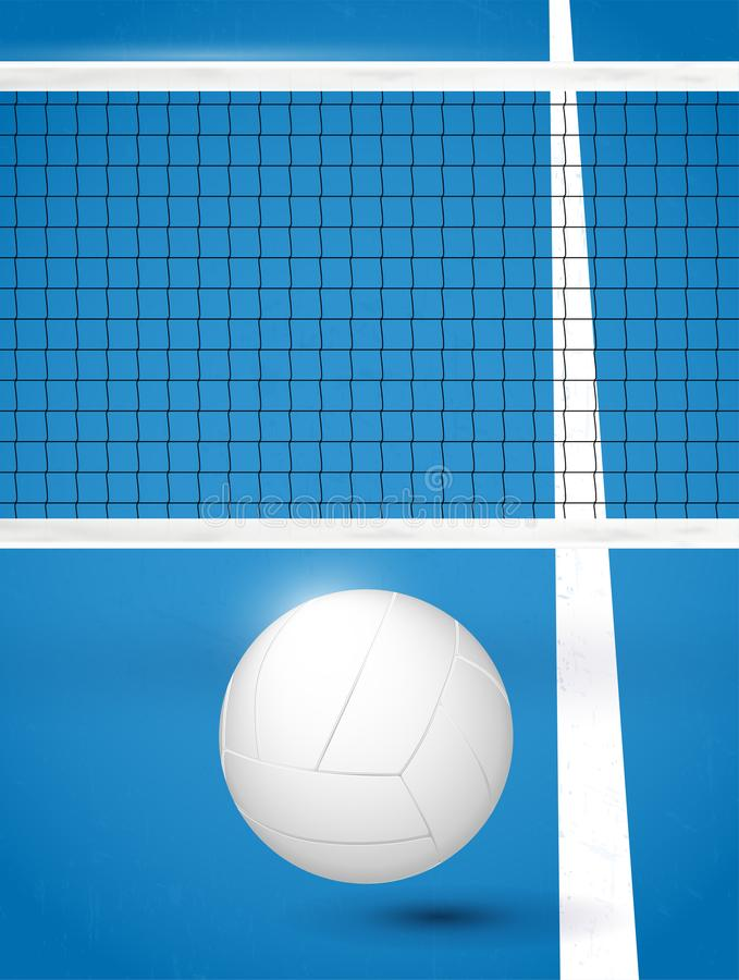 Volleyball ball on blue playground with white line and net. Vector illustration royalty free illustration
