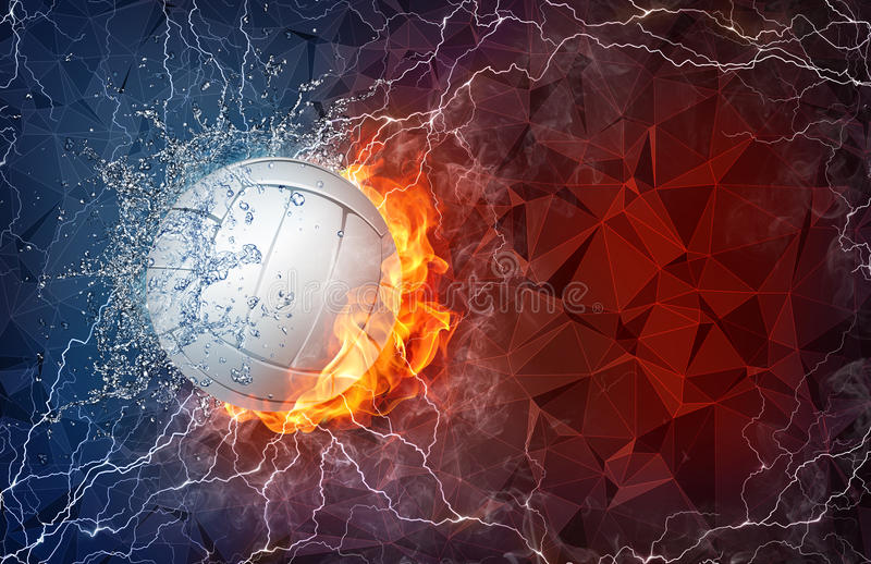 Abstract Grungy Background Volleyball Arrowhead Stock: Volleyball Ball In Fire And Water Stock Illustration