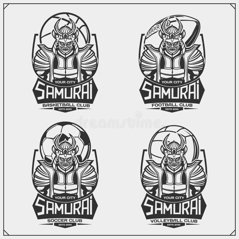 Volleyball, base-ball, football et logos et labels du football Le club de sport symbolise avec des samouraïs illustration de vecteur