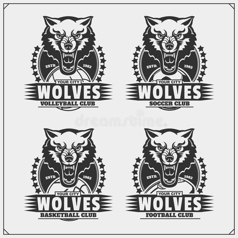 Volleyball, Baseball, Fußball und Fußballlogos und -aufkleber Sportvereinembleme mit Wolf vektor abbildung