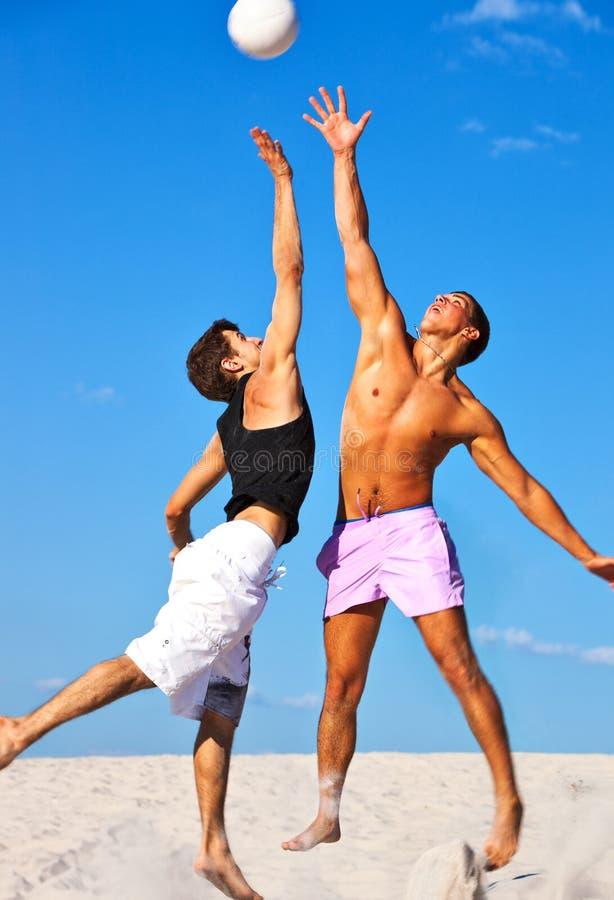 Volleyball on beach stock photo