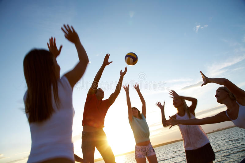 Volleyball On The Beach Stock Image