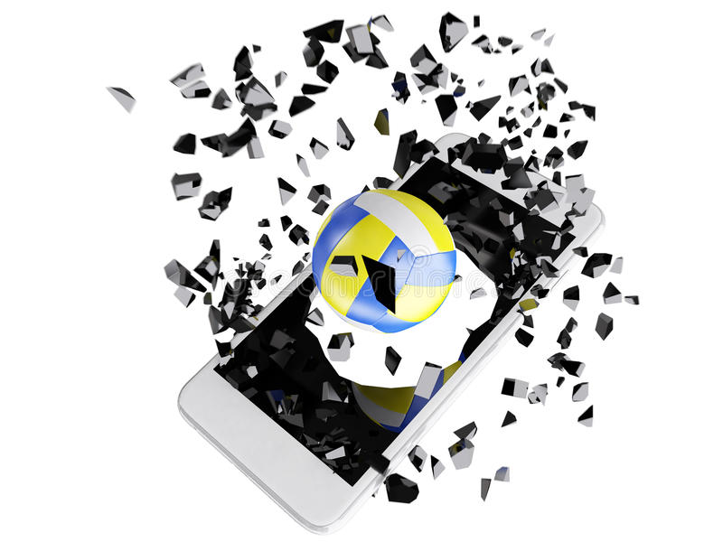 Volleyball burst out of the smartphone stock illustration