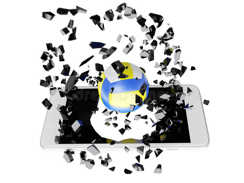 Volleyball burst out of the smartphone royalty free illustration