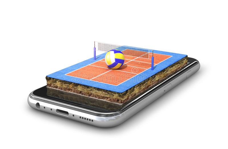Volleyball court is located on the smartphone vector illustration