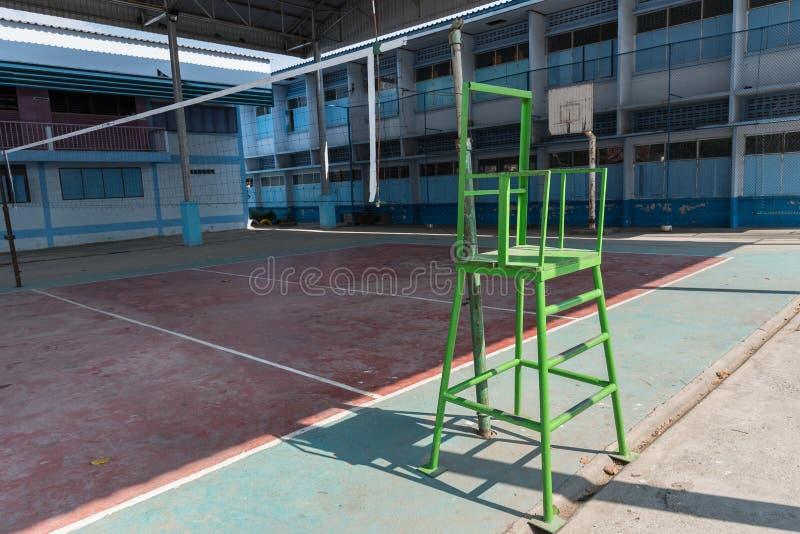 Volleyball Court School Gym Indoor. Stock Photo - Image of basket ...