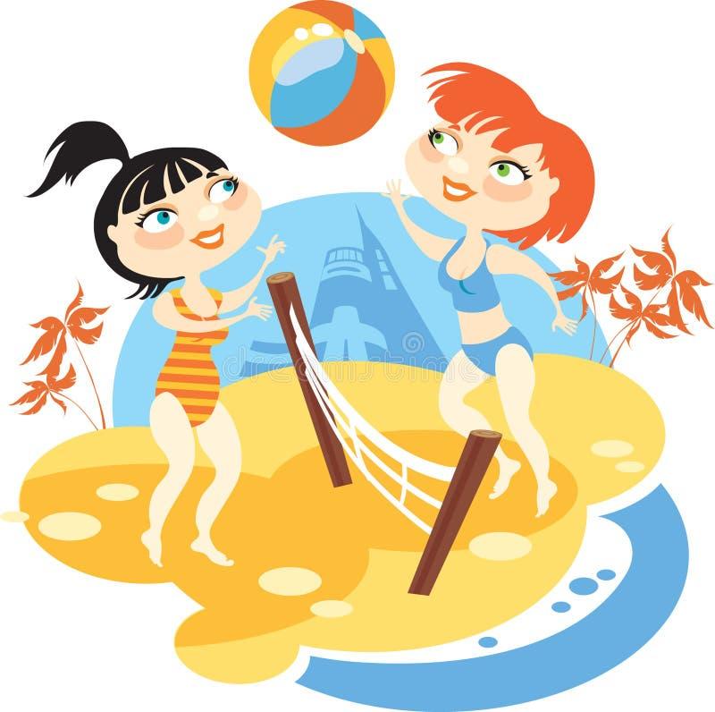 Volleyball de plage illustration de vecteur