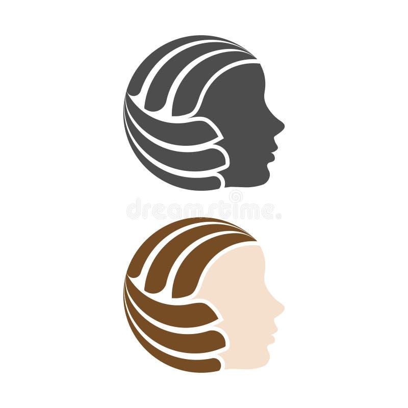 Volleyball de visage de femme illustration stock