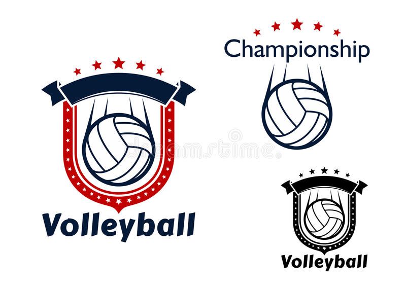 Volleyball game emblems with flying balls. Volleyball club or sporting team emblems with flying volleyball balls, motion trails, decorated by stars and heraldic royalty free illustration