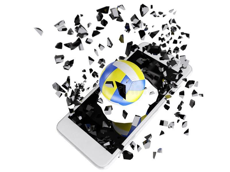 Volleyball gesprengt aus dem Smartphone heraus stock abbildung