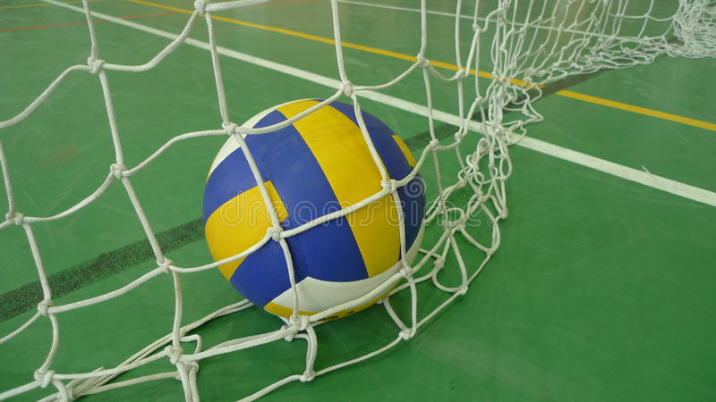 Volleyball in a gym stock photo