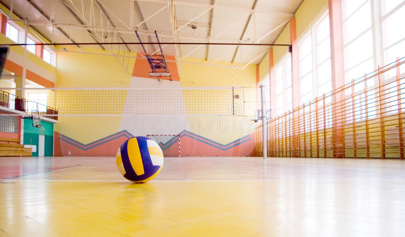 Volleyball in a gym. stock photography