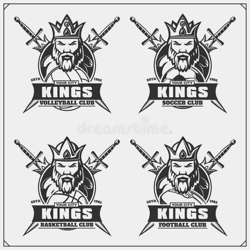 Volleyball, honkbal, voetbal en voetbalemblemen en etiketten De emblemen van de sportclub met koning royalty-vrije illustratie