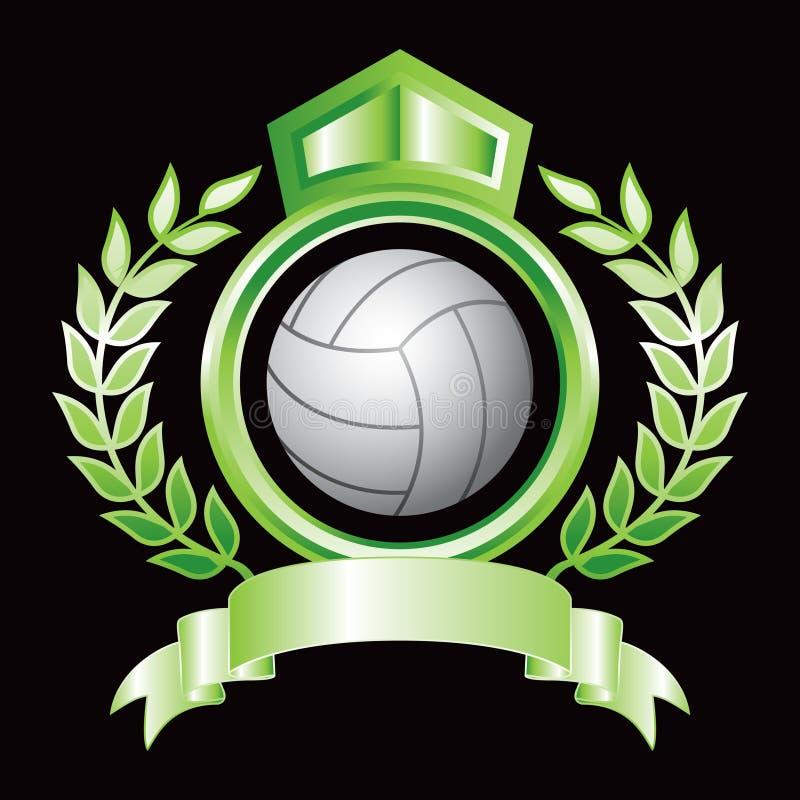 Volleyball im grünen königlichen Scheitel lizenzfreie abbildung