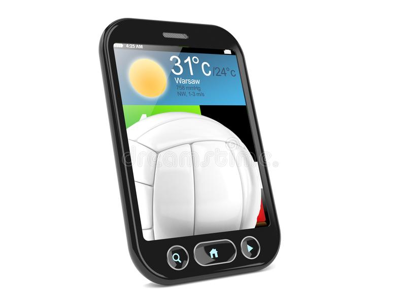 Volleyball innerhalb des Smartphone stock abbildung
