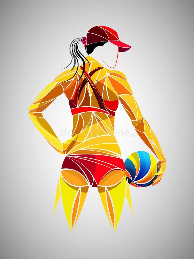 Volleyball international, volleyball vivant, volleyball de jeu, femmes volleyball, joueur de volleyball illustration stock
