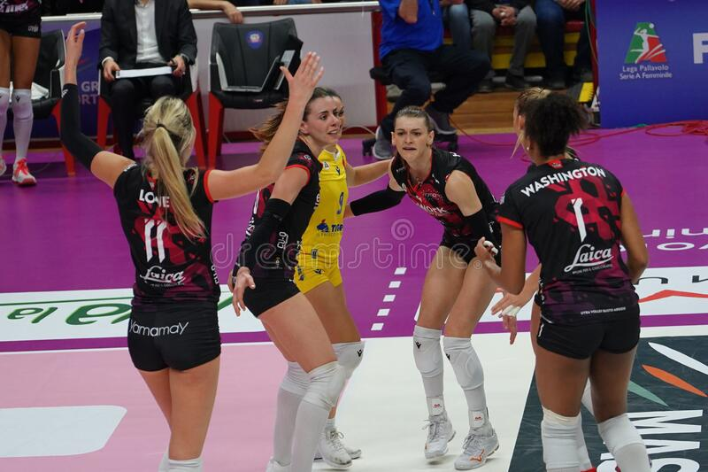 Volleyball Italian Women Cup Finals 2020 - Imoco Conegliano vs Unet E-work Yamamay Busto Arsizio royalty free stock photo