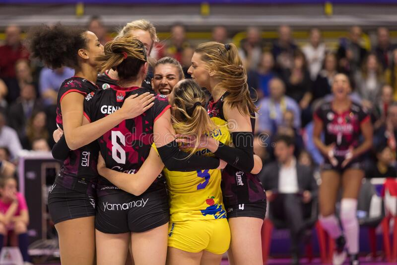 Volleyball Italian Women Cup Finals 2020 - Imoco Conegliano vs Unet E-work Yamamay Busto Arsizio royalty free stock images