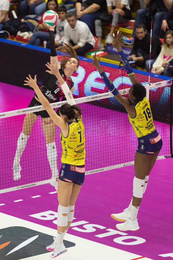 Volleyball Italian Women Cup Finals 2020 - Imoco Conegliano vs Unet E-work Yamamay Busto Arsizio stock photography