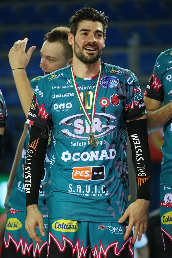 Volleyball Italina Supercmen Finals - Sir Safety Perugia mot Modena Volley arkivfoton