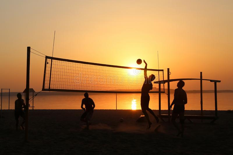 Volleyball on the lake royalty free stock photo